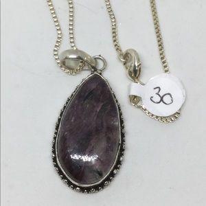 Charoite Silver Pendant and Chain